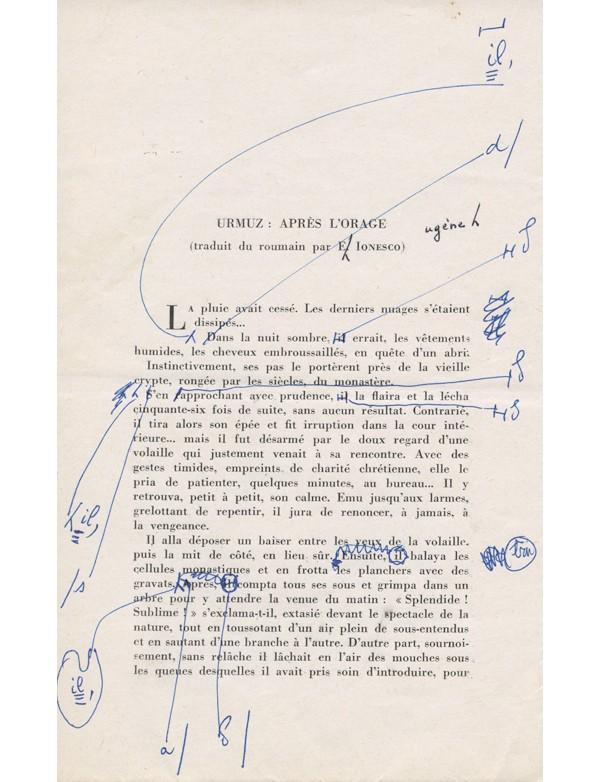 [IONESCO (Eugène)] URMUZ