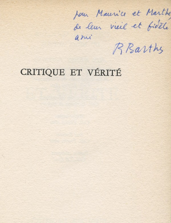 BARTHES (Roland)