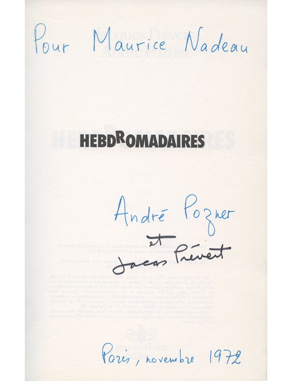 PRÉVERT (Jacques) & POZNER (André)