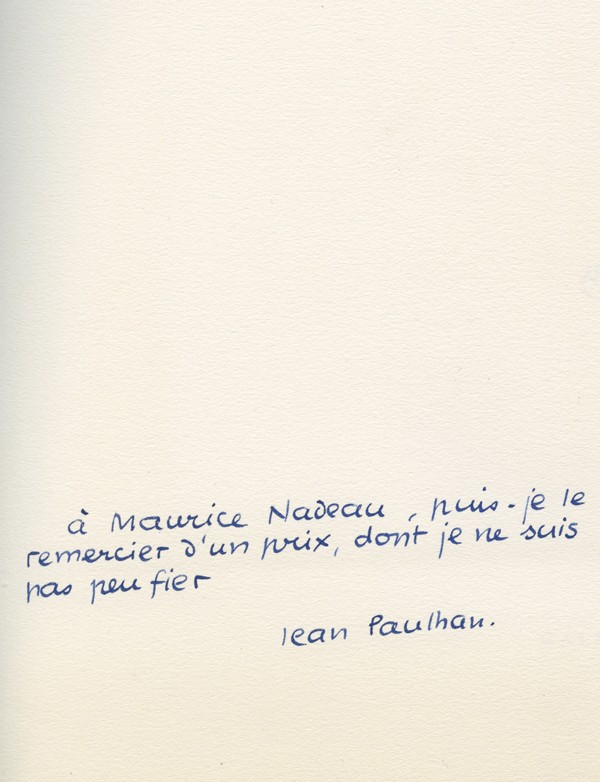 [FAUTRIER (Jean)] PAULHAN (Jean)