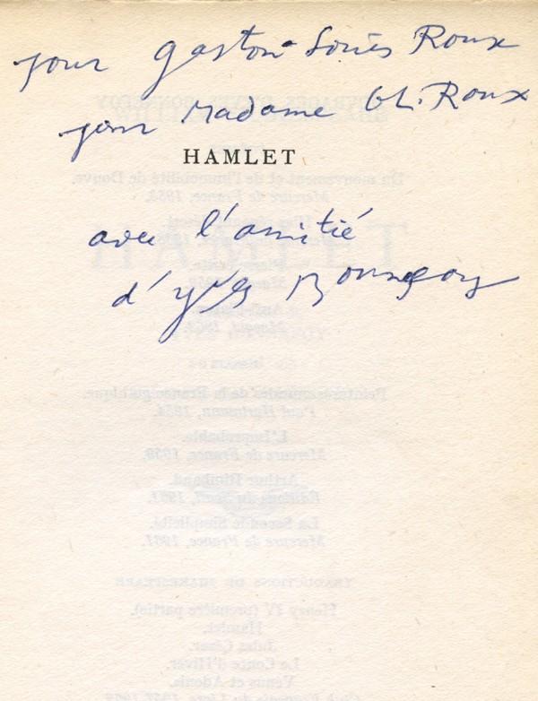 SHAKESPEARE (William) Hamlet Envoi de Yves Bonnefoy