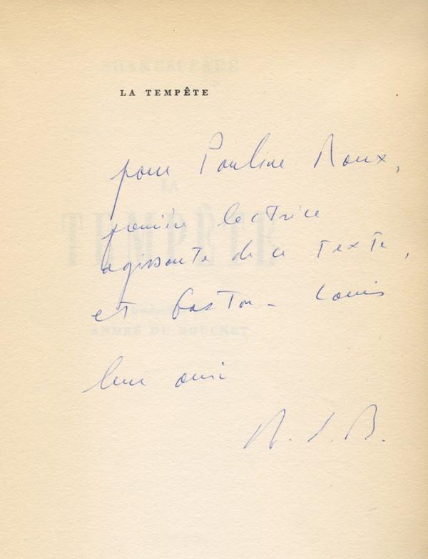 SHAKESPEARE (William) La Tempête envoi d'André du Bouchet