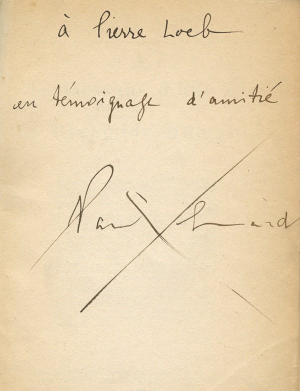 ÉLUARD (Paul) Les Dessous d'une vie ou La Pyramide humaine envoi à Pierre Loeb