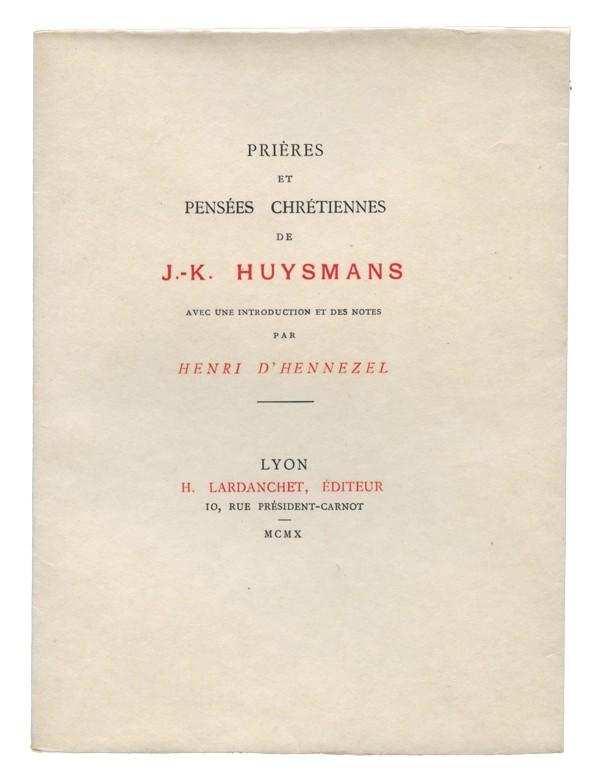 HUYSMANS (Joris-Karl)